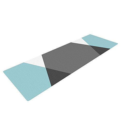 Kess In House Suzanne Carter Diamonds Yoga Exercise Mat, Gray/Blue, 72 X 24 Inch