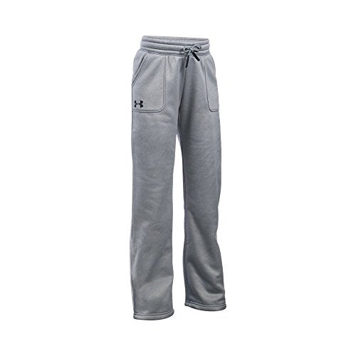 Under Armour Girls' Pants Fleece Boyfriend Pants, True Gray Heather/Black   Youth X Small