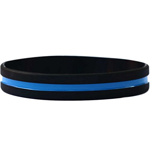 10 Thin Blue Line Silicone Wristbands in Support Memory Police Officer