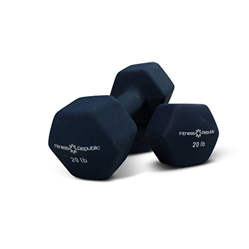 Fitness Republic Neoprene Dumbbell Set Of 2, 20 Pounds Set Non Slip, Hex Shape, Free Weights Set Mus