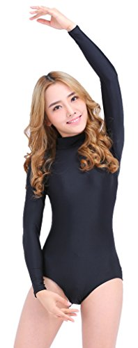 Speerise Long Sleeve Adult Ballet Dance Leotards For Women, S, Flesh