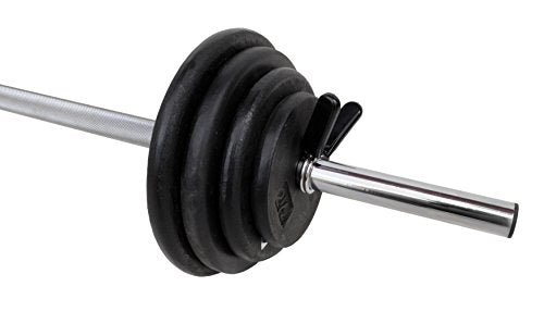 Ader Black Rubber Barbell 40 Lbs Set with 51'' Chrome Hollow Bar
