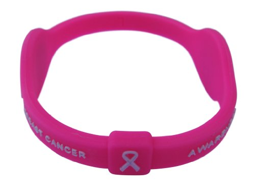 "Neon Hot Pink Breast Cancer Awareness Bracelet Wristband Pink Ribbon (Medium, 7.5"") Power   Energy"