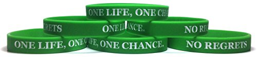 TheAwristocrat 6 Pack ONE Life, ONE Chance. NO Regrets Inspirational Silicone Wristband Rubber Bracelet (Green, Adult (8