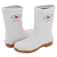 Rugged Shark Premium Fishing Deck Boot with All-Day Comfort Footbed, White, Size 12M