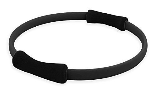 YogaAccessories Dual Grip Resistance Training Pilates Ring - Black