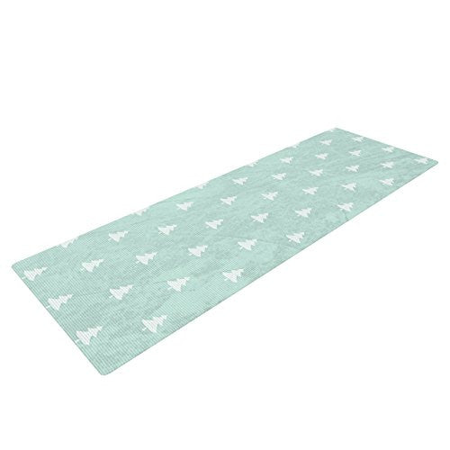 Kess In House Snap Studio Pine Pattern Aqua Yoga Exercise Mat, Blue, 72 X 24 Inch