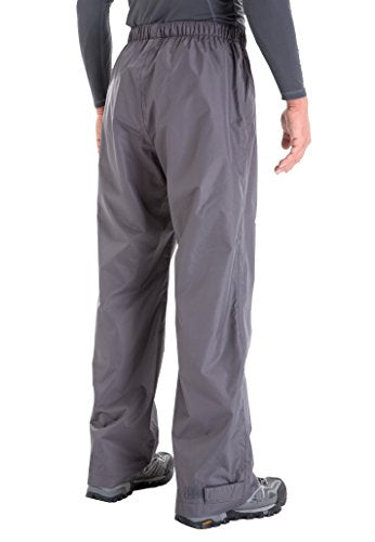 Clothin Men's Waterproof Elastic Waist Drawstring Rain Pants With Front Zipper Pockets Basic Insulat