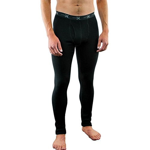 Woolx Mens Back Country Midweight Merino Wool Base Layer Bottoms, Black, Xx Large