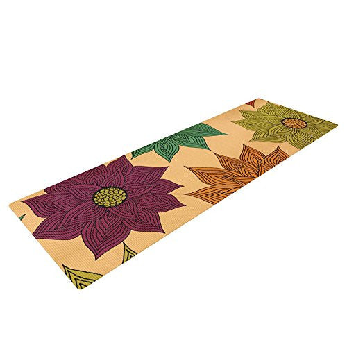 Kess In House Pom Graphic Design Color Me Floral Yoga Exercise Mat, Yog, 72 X 24 Inch