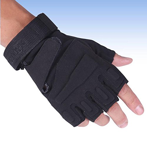 Comfspo Leather Gloves Half Finger Fingerless Motorcycle Gloves,Half Finger Leather Gloves For Cycli