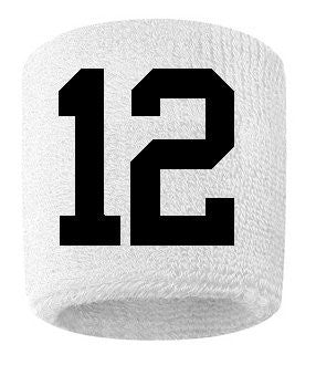 #12 Embroidered/Stitched Sweatband Wristband White Sweat Band W/ Black Number (2 Pack)