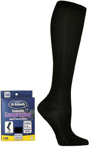 Dr. Scholl's Women's Microfiber Moderate Support Socks,  Navy, Shoe Size: 4 5 (Small)