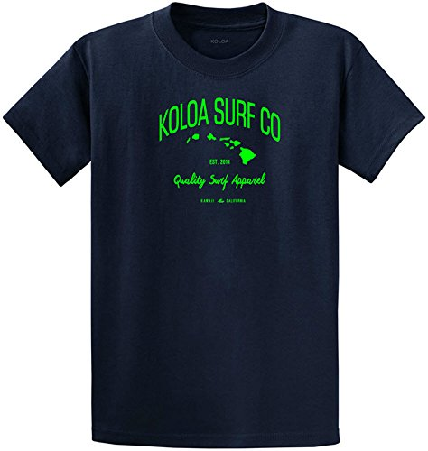 Joe's USA Koloa Surf Tall Islands Logo Cotton T-Shirt-Navy/green-2XLT