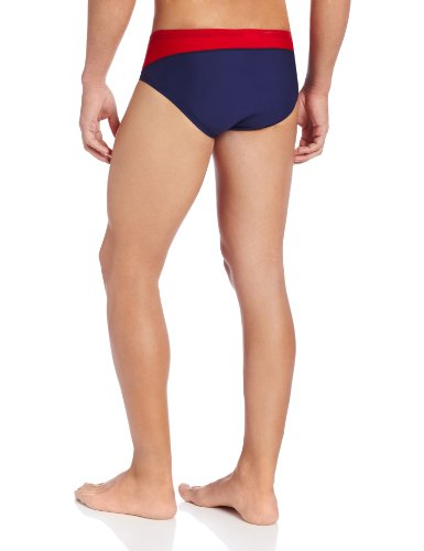 Speedo Men's Endurance+ Launch Splice Brief Swimsuit, Navy/Red/White, 32