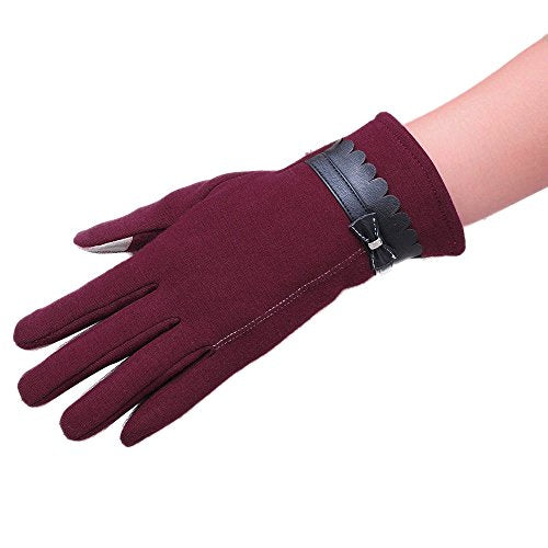 4689d2c51 ... Besde Fashion Womens Girls Ladies Bowknot Touch Screen Winter Warm Gloves  Mittens Gift (Red) ...