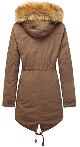 Wen Ven Women's Warm Winter Jacket Faux Fur Lined Drawstring Parkas(Khaki,M)