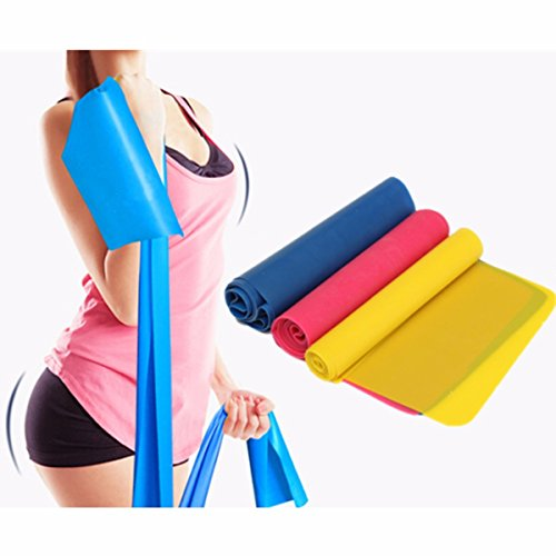 Resistance Band Set Of 3 Long Fitness. Stretch Bands Home Gym Kit For Strength Training, Physical Th