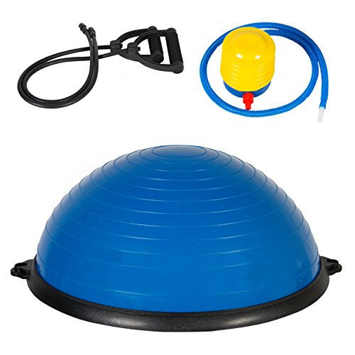 Best Choice Products Fitness Blue Yoga Balance Trainer Ball W/ Resistance Bands & Pump Exercise Work