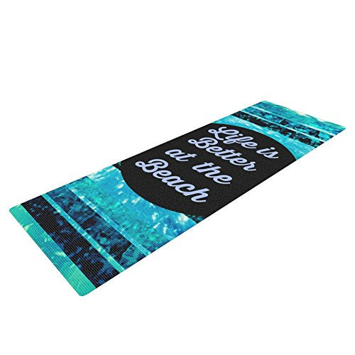 Kess In House Ebi Emporium Life Is Better At The Beach Yoga Exercise Mat, Blue/Aqua, 72 X 24 Inch