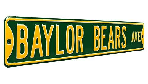 "Authentic Street Signs 70389 Baylor Bears Ave, Heavy Duty, Steel Street Sign, Team Color, 36"" X 6"""