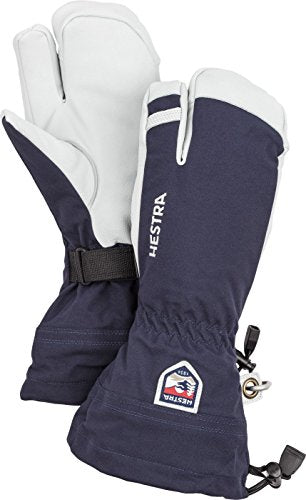 Hestra Mens and Womes Ski Gloves: Army Leather Wind-Proof Water ResisTant Winter Mitten, Navy, 9