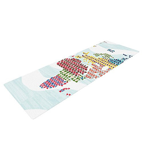 Kess In House Agnes Schugardt Geo Map Yoga Exercise Mat, Abstract, 72 X 24 Inch
