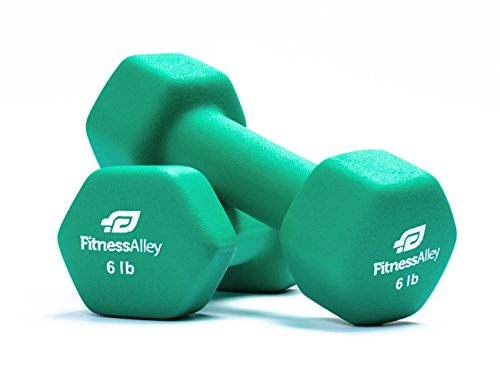 Fitness Alley 6lb Neoprene Dumbbell Set Coated for Non Slip Grip - Hex Dumbbells Weight Set - Hand weights set - Neoprene weight pairs - Hex Hand Weights - Set of two Neoprene Dumbbells, 6 lb - Green