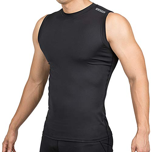 DRSKIN Undershirts Running Shirt Tank Tops Men's Cool Dry Compression Baselayer Sleeveless (STBB05, 2XL)