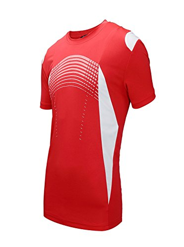 ZITY Sportswear Men's 100% Polyester Moisture-Wicking Short-Sleeve T-Shirt Red X-Large