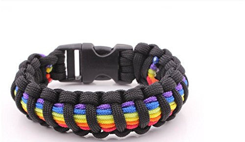 Gay Pride Rainbow Paracord Bracelet Show Your Pride Gay, Lesbian, Lgbt