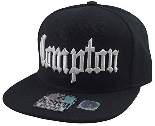 a7f91b1e5e47e New Compton 3d Embroidered Flat Bill Snapback Baseball Cap Hat Black