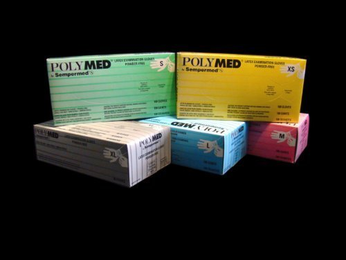 PT# PM103 PT# # PM103- Polymed PF Latex Glove Medium 1000/10 BX by, Sempermed Usa Inc by Sempermed