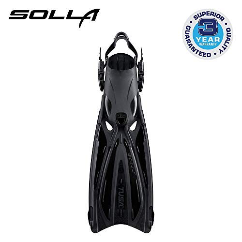 TUSA SF-22 Solla Open Heel Scuba Diving Fins, X-Small, Black