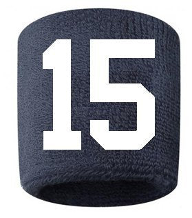 #15 Embroidered/Stitched Sweatband Wristband Navy Blue Sweat Band W/ White Number (2 Pack)