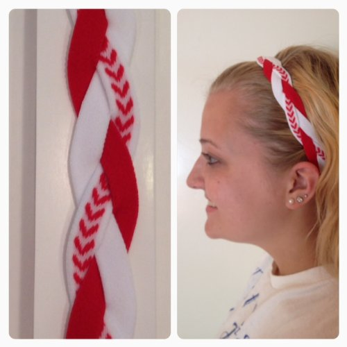 Fabulici Red White Striped Braided Headband Softball Running Sports Braided Headbands Sweat Silicone