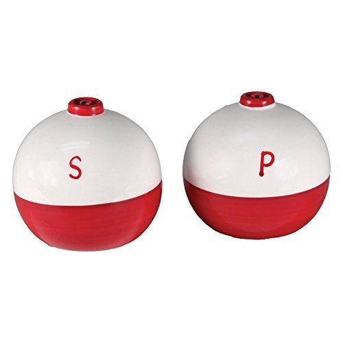 River's Edge Products River's Edge 519 Ceramic Fishing Bobber Shaped Salt And Pepper Shakers