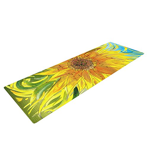 Kess In House Catherine Holcombe Syaured Yoga Exercise Mat, Yellow/Green, 72 X 24 Inch
