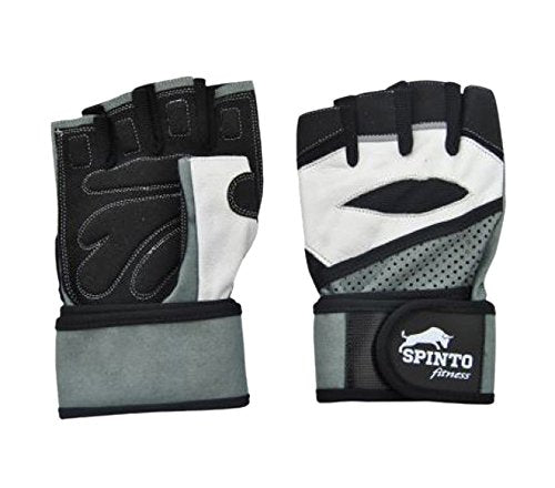 Spinto Fitness Workout Gloves-White & Grey/ XL