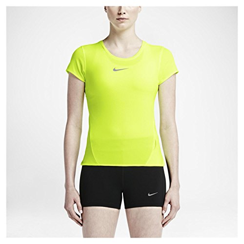 Nike Dri Fit Aeroreact Running Shirt Womens Size Medium Yellow 719560 702