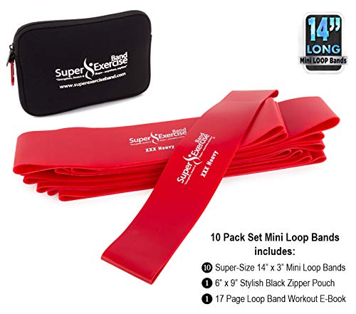 "Super Exercise Band 10 Pack 14"" x 3"" Extra Long Red XXX Heavy Strength Mini Loop Bands. Non-Latex Resistance for Fitness, Physical Therapy, Pilates, and Strength Training."