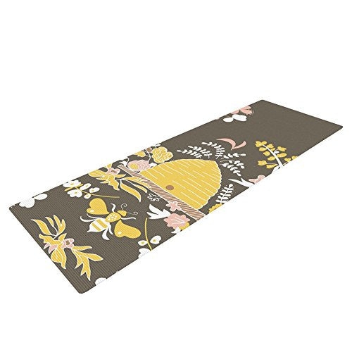 "Kess In House Very Sarie Hope For The Flowers Ii Exercise Yoga Mat, Yellow Brown, 72"" By 24"""