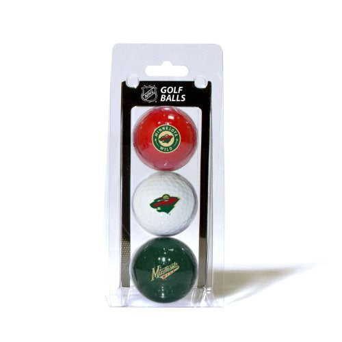 Team Golf Nhl Minnesota Wild Regulation Size Golf Balls, 3 Pack, Full Color Durable Team Imprint