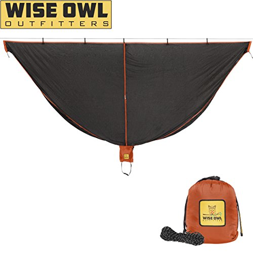 Hammock Bug Net - SnugNet by Wise Owl Outfitters - The Perfect Mesh Netting Keeps No-See-Ums, Mosquitos and Insects Out - Black and Orange