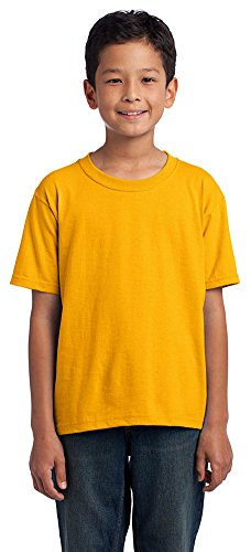 Fruit of the Loom Youth 5 oz., 100% Heavy Cotton HD T-Shirt (3931B)- GOLD,XS