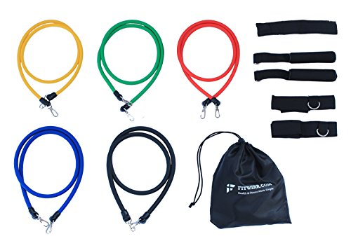 Resistance Bands Set - Exercise Fitness Tubing Bands With Handles - 11 PC Total, Up to 73 LB + Full-