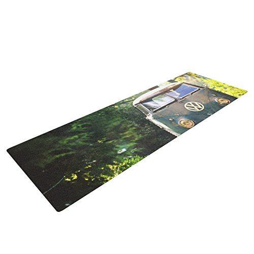 Kess In House Robin Dickinson Peace Love Nature Yoga Exercise Mat, Forest, 72 X 24 Inch