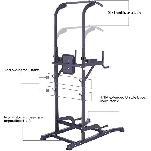 K KiNGKANG Power Tower Adjustable Height Multi-Function Home Strength Training Fitness Workout Stati