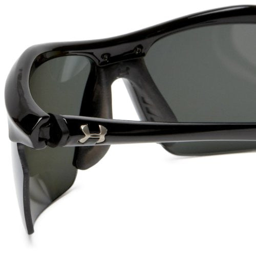 Under Armour Zone Xl Polarized Sunglasses, Shiny Black Frame/Gray Polarized Multiflection Lens, One