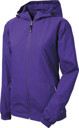Sport Tek   Ladies Colorblock Hooded Windbreaker Jacket. Lst76   Xxxx Large   Purple / White